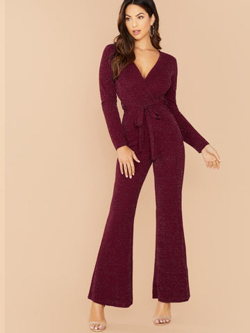 Burgundy V-Neck Glitter Knit Long Sleeve Waist Tie Jumpsuit