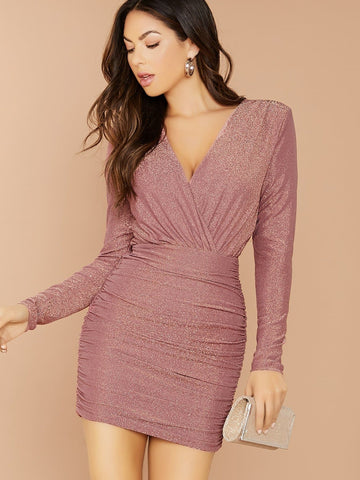 Pink V-Neck Slim Fit Glitter Knit Long Sleeve Ruched Mini Dress