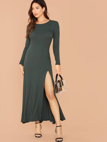 Green Round Neck Solid Split Thigh Slim Fit Jersey Dress