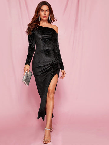 Black Asymmetrical Neck Split Thigh Glitter Velvet Bodycon Dress