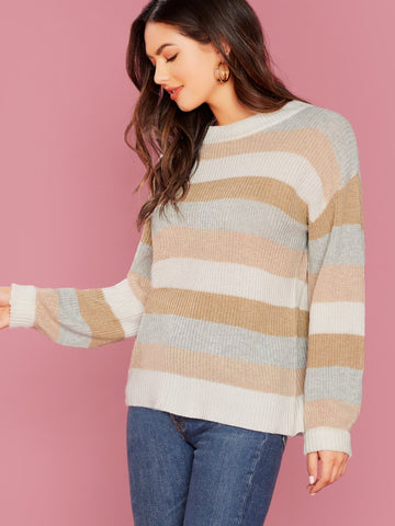 Round Neck Crew Neck Knit Stripe Pullover Sweater