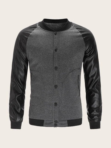 Grey Stand Collar Single Breasted Contrast PU Sleeve Bomber Jacket