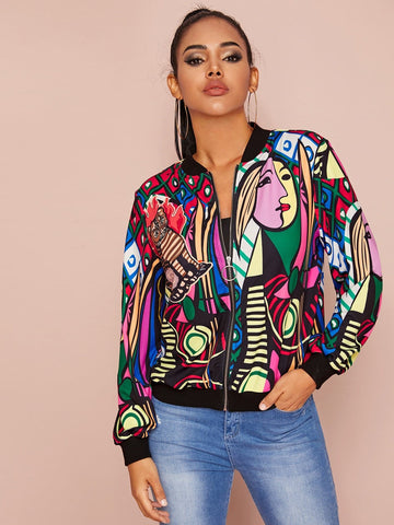 Stand Collar Graphic Print O-ring Zip Up Bomber Jacket