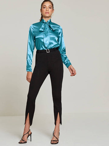 Black Mid Waist Diamante Belted Split Hem Trousers