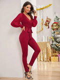 High Waist Self Tie Surplice Neck Solid Jumpsuit