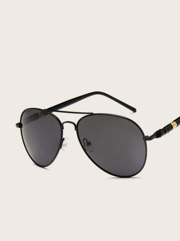 Black Retro Double Aviator Sunglasses