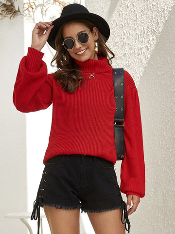 Bright Red Turtle Neck Ribbed Knit Sweater Pullover