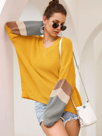 Bright Yellow Contrast Panel V Neck Ribbed Knit Sweater