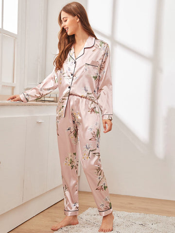 Baby Pink Floral Print Button-up Satin Sleepwear Set