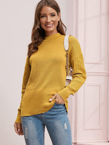 Yellow Solid Stand Collar Drop Shoulder Sweater