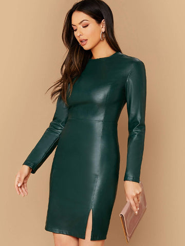 Green Round Neck Split Hem PU Leather Dress