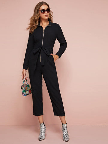 Black High Waist Zip Up Self Belted Slant Pocket Jumpsuit
