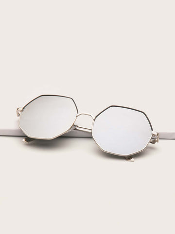 Silver Polygon Metal Frame Sunglasses