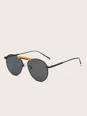 Grey Top Bar Flat Lens Sunglasses