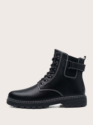 Black Lace-up Lug Sole Combat Ankle Boots