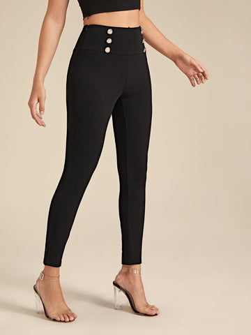 Wide Waistband Double Button Skinny Pants