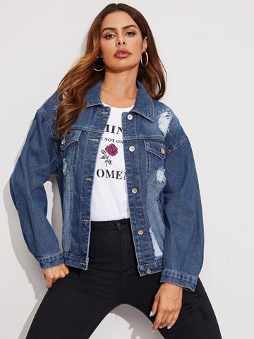Blue Distressed Denim Trucker Jacket