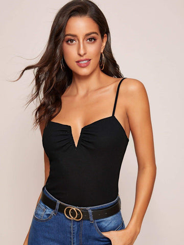 Black Spaghetti Strap V-bar Rib-knit Slim Cami Top