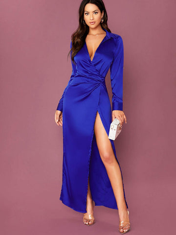 Blue V-Neck Long Sleeve High Slit Satin Gown