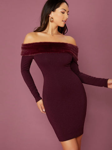 Burgundy Faux Fur Trim Off Shoulder Bodycon Mini Dress