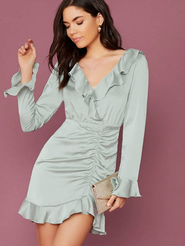 Green V-Neck Backless Long Sleeve Layered Ruffle Ruched Mini Dress