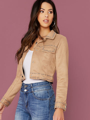 Khaki Single Breasted Button Front Studded Faux Suede Crop Jacket