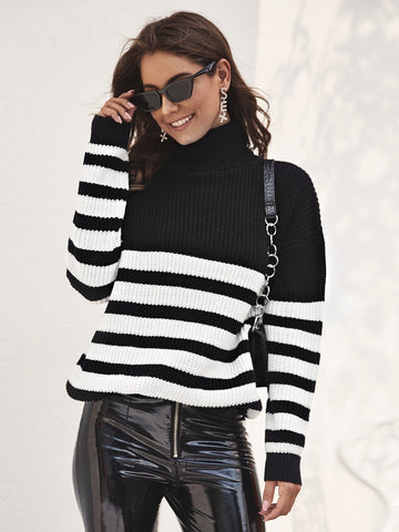 Black And White High Neck Stripe Turtleneck Jumper Sweater