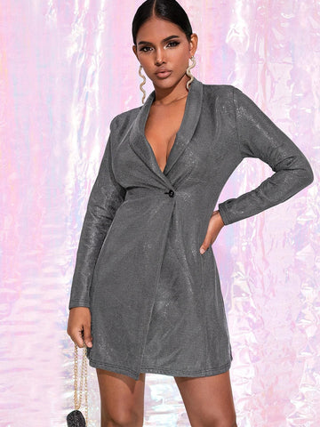 Grey Single Button Shawl Collar Metallic Blazer Dress