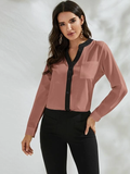 Notched Collar Contrast Trim Pocket Patch Blouse Top