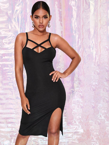 Black Spaghetti Strap Sleeveless Slit Hem Criss-cross Detail Bodycon Dress