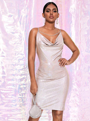 Grey Sleeveless Spaghetti Strap Criss-cross Backless Draped Neck Metallic Cami Dress