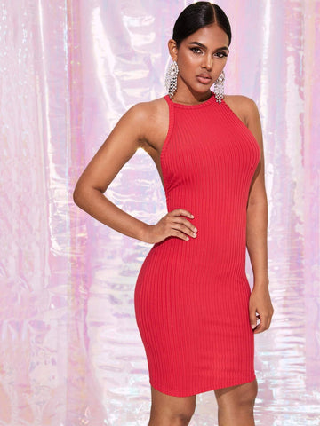 Red Sleeveless Criss-cross Backless Rib-knit Bodycon Halter Dress