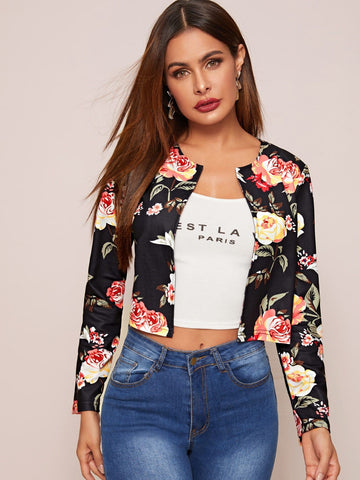 Round Neck Open Front Floral Print Jacket