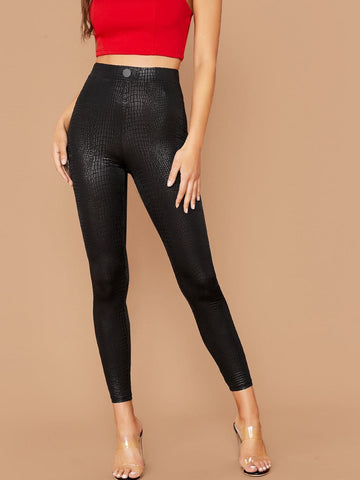 Cropped Metallic Crocodile Embossed Leggings