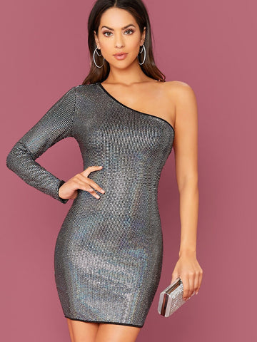 Grey One Shoulder Sequin Bodycon Dress