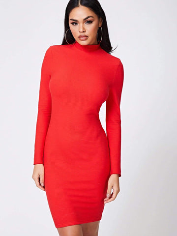 Bright Red Stand Collar Mock Neck Solid Slim Fit Dress