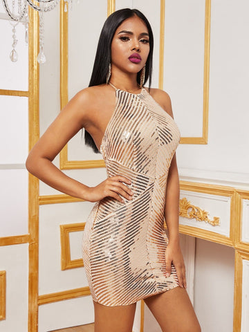 Beige Open Back Sequin Halter Slim Fit Dress