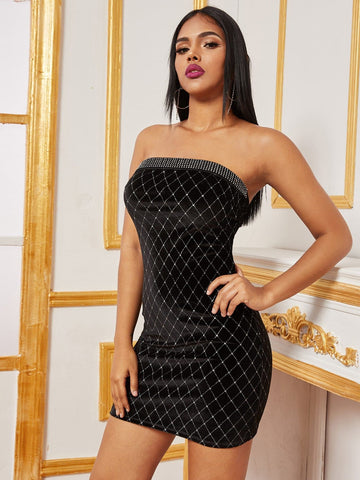 Black Sleeveless Strapless Rhinestone Detail Slim Fit Velvet Tube Dress