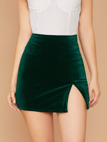 Green High Waist Back Zip Side Slit Velvet Mini Skirt