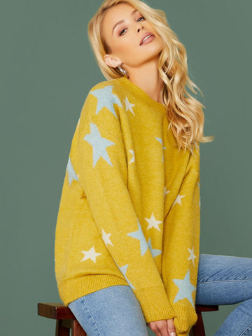 Yellow Round Crew Neck Star Print Pullover Sweater