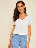 V-Neck Rolled Cuff High Low Hem Top