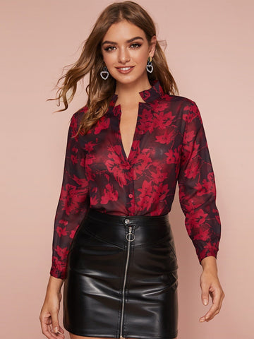 Floral Print Notched Neck Sheer Top