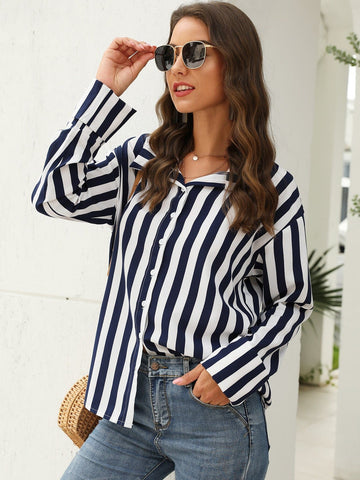 Striped Button Up Curved Hem Blouse Shirt