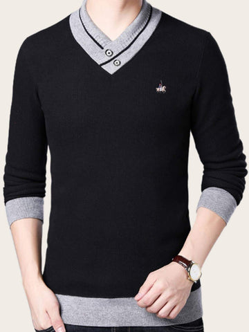 Black Stand Collar Contrast Binding Ribbed Knit Sweater Pullover