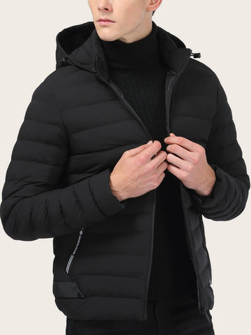 Black Zip Through Hooded Padded Jacket