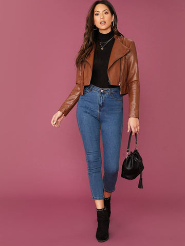 Brown Zip Front PU Leather Biker Jacket