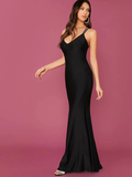 Spaghetti Strap Sleeveless Plunging Neck Crisscross Open Back Fishtail Hem Dress