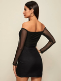 Slim Fit Off Shoulder Ruched Wrap Mesh Dress