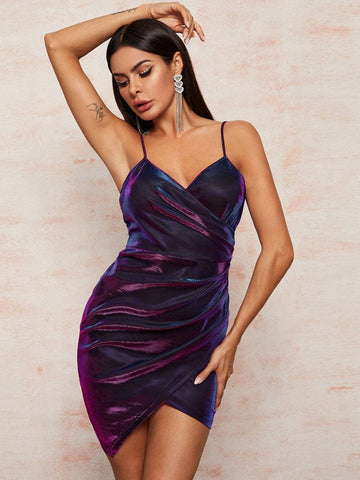 Spaghetti Strap Sleeveless Holographic Wrap Asymmetrical Hem Cami Dress