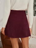 High Waist Button Front Asymmetrical Hem Corduroy Skirt